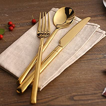 Home 24k Gold Cutlery 4pcs Stainless Steel Flatware Colorful Cutlery Dinner Spoon Gold Plated Cutlery Sets & Amazon.com | Home 24k Gold Cutlery 4pcs Stainless Steel Flatware ...
