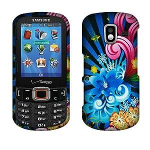 Fincibo (TM) Samsung Intensity 3 U485 Snap On Hard Protector Cover Case - Neon Floral Flower