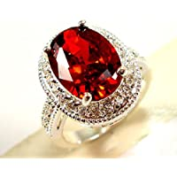 Promsup Gorgeous Woman Oval Cut 2.95ct Garnet 925 Silver Wedding Party Ring Size 6-10 (6)