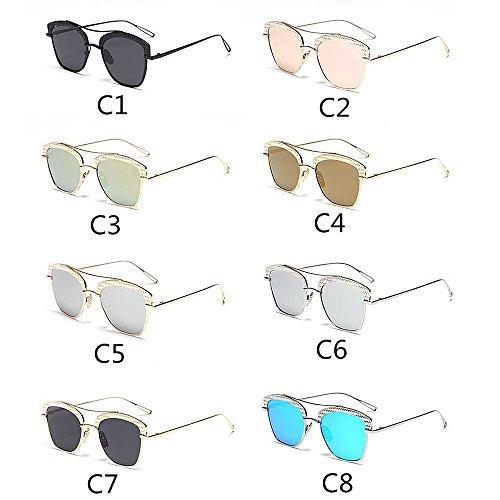 Coloreada UV de viaja Lente para de C1 Semi Montura al Peggy C8 Color Sol Gafas Protección Que Marco Conducción sin Aire Metal Personalidad Gu Libre Mujeres xAqxwPBOz
