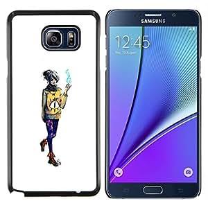 Qstar Arte & diseño plástico duro Fundas Cover Cubre Hard Case Cover para Samsung Galaxy Note 5 5th N9200 (Emo fumadores Chica)