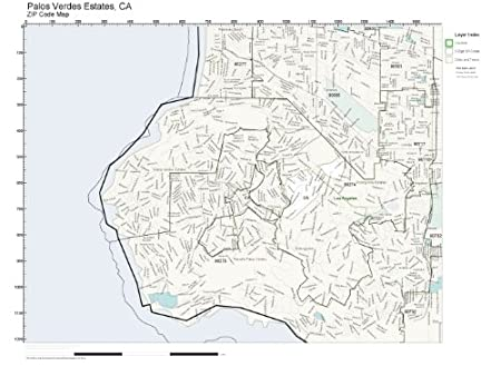 Palos Verdes Zip Code Map.Amazon Com Zip Code Wall Map Of Palos Verdes Estates Ca Zip Code