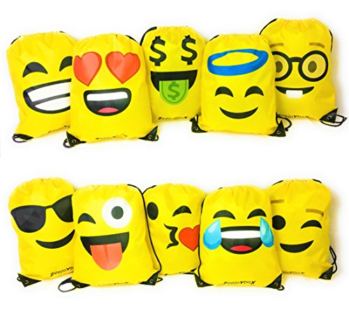 Emoji Bag for Kids, Drawstring Backpack for School, Party Favor, Set of 10 (Halloween Party Asu)