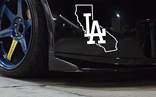 x2 LA California State Outline Vinyl Decal Sticker 7 inches ()