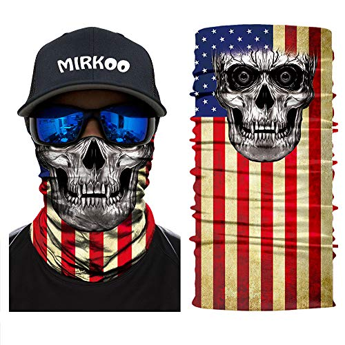 MIRKOO 3D Breathable Seamless Tube Face Mask, Dust-proof Windproof UV Protection Motorcycle Bicycle ATV Face Mask for Cycling Hiking Camping Climbing Fishing Hunting Motorcycling (MK-261) ()