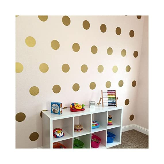 """6x6 Set of 24 Polka Dot Circles vinyl lettering decal home decor wall art saying (Gold) - Each dot measures 6"""" H x 6"""" W Made from top of the line Oracal 631 Self Adhesive Vinyl - Transfer Tape Application instructions are included with each order, along with a technical support phone number and links to YouTube installation videos - living-room-decor, living-room, home-decor - 51XYWk4DbBL. SS570  -"""