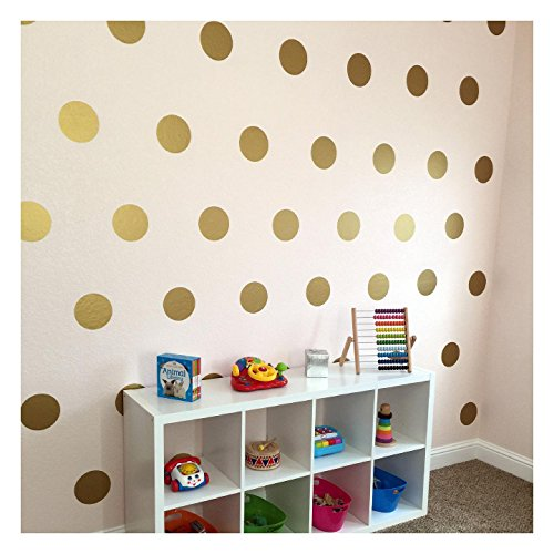 6x6 Set of 24 Polka Dot Circles vinyl lettering decal home decor wall art saying (Gold) -