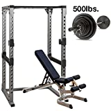 Body Solid GPR378 Power Rack with Heavy GFID71 Bench, 500lb. Weight Set