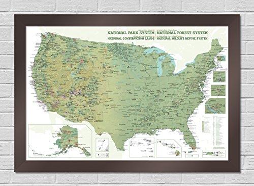 NPS x USFS x BLM x FWS Interagency Map PREMIUM FRAMED 24x36 Poster (Army & White | Graphite)