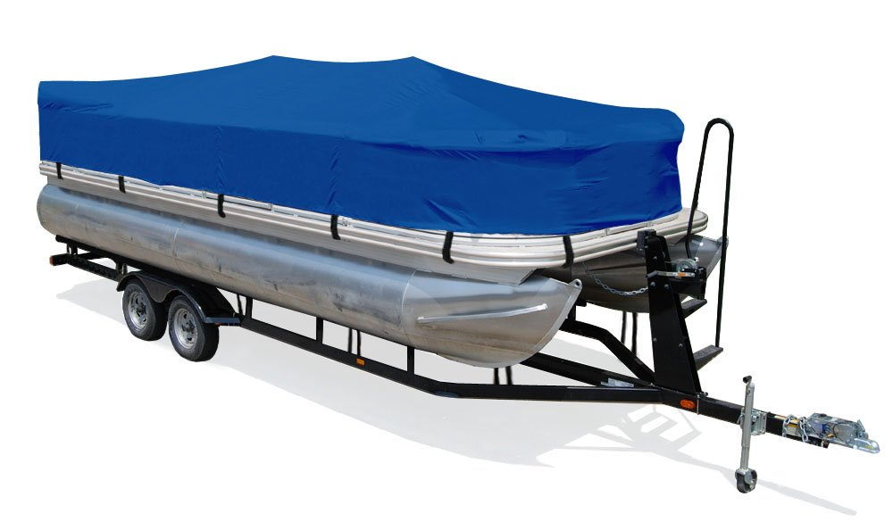 TaylorMade Products Trailerite Semi-Custom Boat Cover for Pontoon Boats 201 to 21 Center Line Length // 96 Beam, Pacific Blue Coated Poly