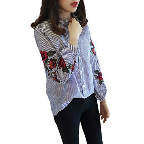 Camicia Elegante Risvolto Abbigliamento Donna Larghi Bluse Camicetta Lunga Ricamo Casual Fiori Blu Chic Vintage Ragazza Moda Manica Camicie Monopetto Top wBXxqf5x