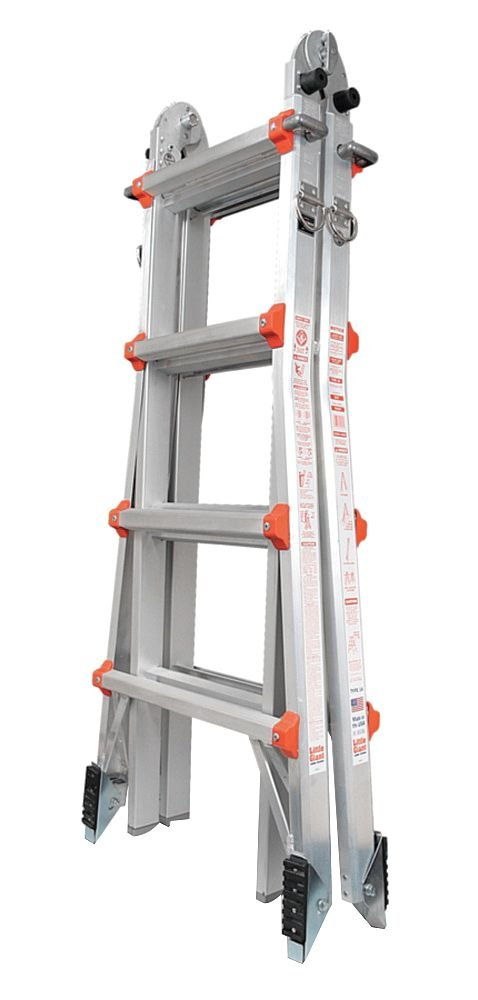 Little Giant 17 ft. Aluminum Multipurpose Ladder, 300 lb. Load Capacity, 40.0 lb. Net Weight 10102AS - 1 Each