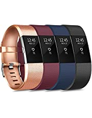Novoegoo Sport Bands Compatible with Fitbit Charge 2, 4 Pack, Replacement Wristbands for Women Men, Small/Large