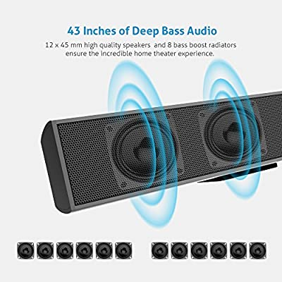 Meidong KY-2000 Sound Bars for TV Bluetooth Soundbar Speaker Wired & Wireless Stereo Sound Optical/RCA/Aux/BT4.1 Remote Control 43-inches 72-Watts 12 Drivers