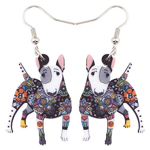 Bonsny Acrylic Drop Dangle Bull Terrier Dog Pets Earrings Funny Design Lovely Gift Girl Women Fashion Jewelry (Grey)