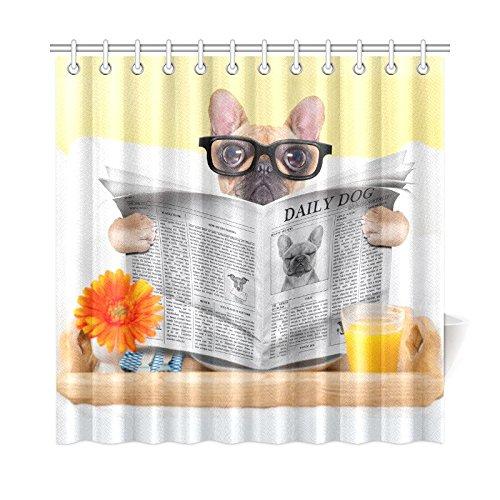 Bulldog Reading Newspaper Waterproof Shower Curtain Home Decor Bathroom Print Fabric Shower Curtain 72