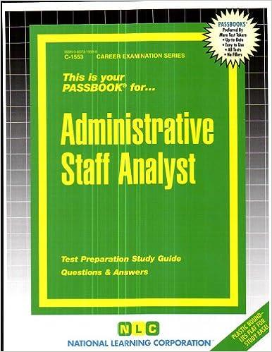 Administrative Staff Analyst Career Examination Passbooks