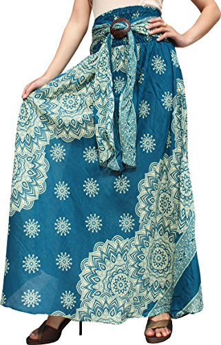 Raan Pah Muang RaanPahMuang Long Rayon Skirt Smock Waist Coconut Buckle Tie Art Deco Flowers, Medium, Sea ()