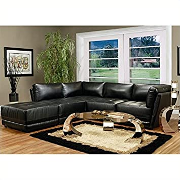 Strange Coaster Kayson Contemporary 5 Piece Bonded Leather Sectional Sofa In Black Machost Co Dining Chair Design Ideas Machostcouk