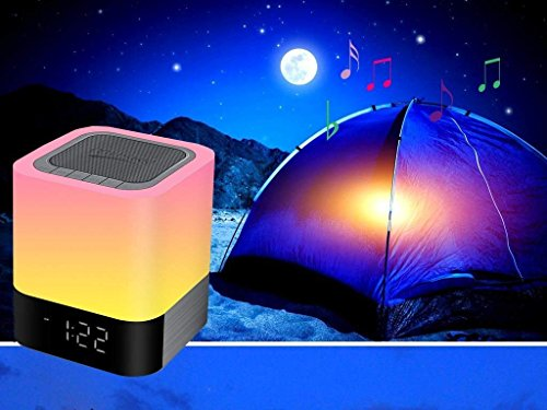 Homcasito Night Light Bluetooth Speaker,Bedside Lamps Touch Sensor Dimmable Warm White Light Color Changing Alarm Clock Wireless Music Player Best for Kids,Party,Bedroom,Camping Gift by Homcasito (Image #4)
