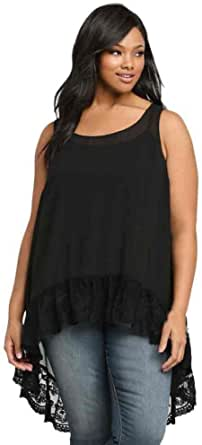 Flank Women Plus Size Casual Chiffon Sleeveless Blouse Loose Vest Tank Top (3XL)