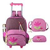 Children's Trolley Flower Bag 3 Pieces,Girls Rolling Backpack Set, 3D Toy Wheeled Backpack with Lunch Bag Pencil Case For Girls Elementary Backpacks 2 Wheels Rose