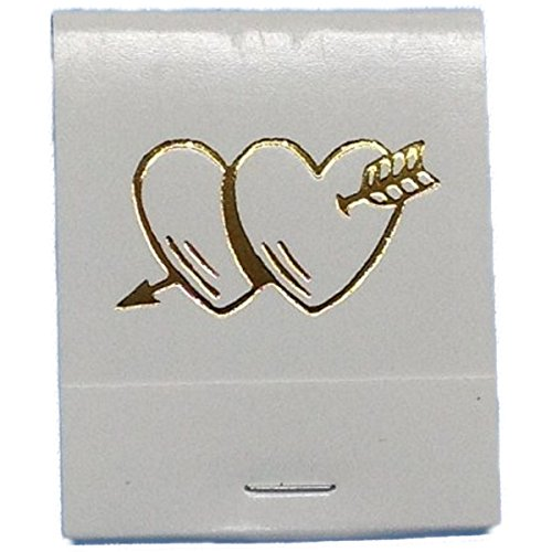 50 White Imprinted in Gold Hearts with an Arrow Matches Matchbooks Wedding, Anniversary, Birthday, Party, Your Choice of Color of Print]()