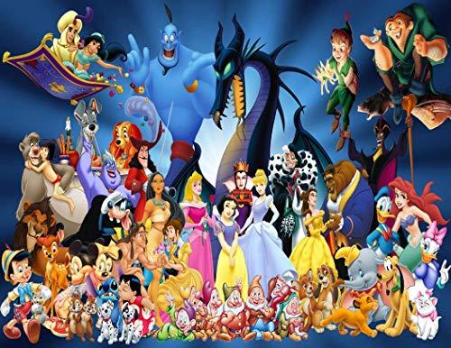 Disney Aladdin Jasmine Genie Peter Pan Pinocchio Ariel Cinderella Aurora Edible Cake Topper Image ABPID07225 - 1/4 sheet -