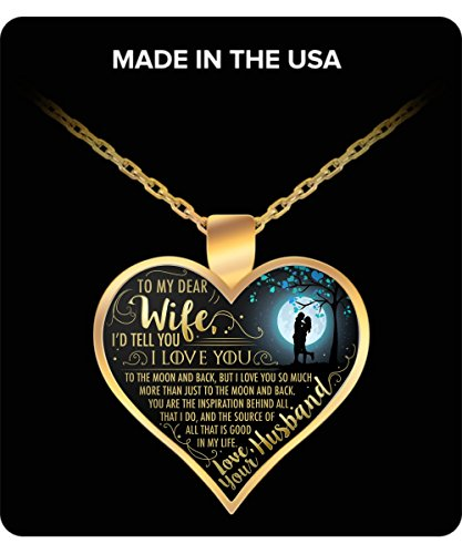 Wife gifts Pendant Necklace - To my dear wife I would tell you i love you - wedding anniversary gifts, husband gifts, birthday gifts