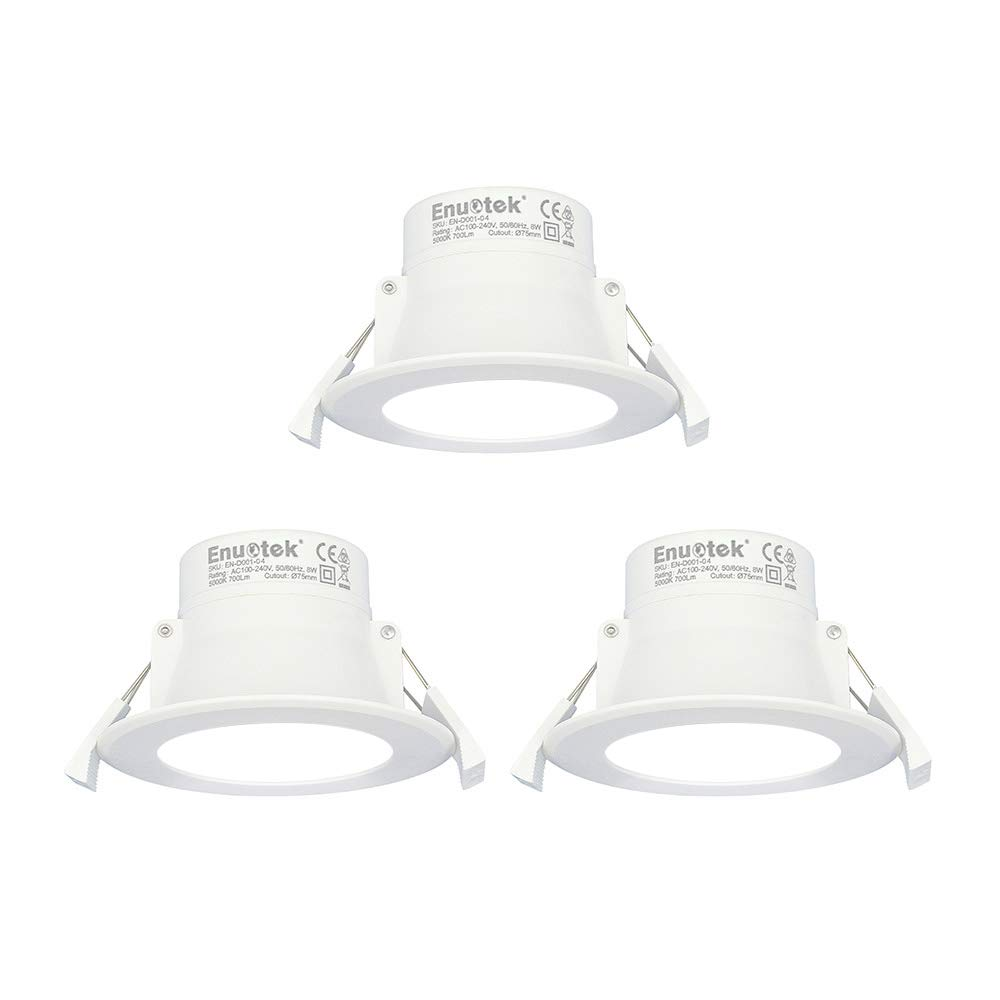 LED Small Recessed Ceiling Downlight Recessed Ceiling Lamp 8W 3000K Warm White Cut Hole 70-85MM/Φ AC100~240V IP44 for Bathroom Kitchen 1 Pack by Enuotek