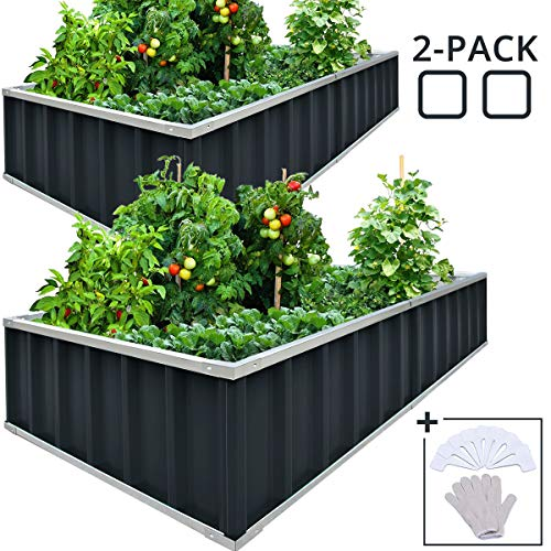 "KING BIRD Extra-Thick 2-Ply Reinforced Card Frame Raised Garden Bed 68""x36""x12"" x2 Pack Galvanized Steel Metal Planter Kit Box with 8pcs T-Types Tag & 1 Pair of Gloves (Grey 2-Pack)"