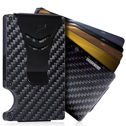 Minimalist Carbon Fiber RFID Blocking Slim Wallet Card Holder with Money (Touch Plate Card)