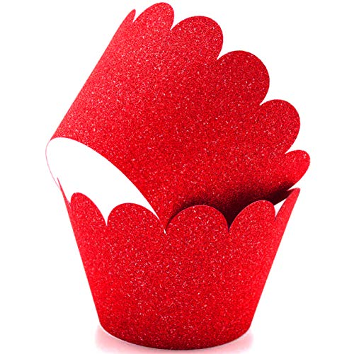 Glitter Cupcake Wrappers Adjustable, Reusable - 50 Count (Red) ()