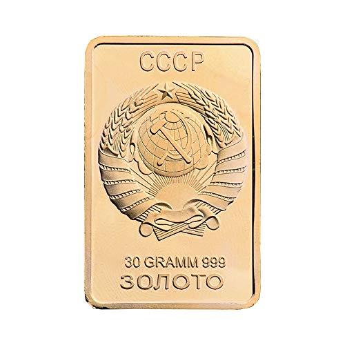 Leaftree Souvenir Coin Commemorative Coin Gold Modern Bullion Bar 0.9999 Fine Gold Ornaments Square Zinc Alloy ()