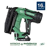 "Hitachi NT1865DM 18V Cordless Straight Finish Nailer, Brushless Motor, 16 Gauge, 1"" to 2-1/2"" Nails, Compact 3.0 Ah Lithium Ion Battery, Zero Ramp-Up Time, Lifetime Tool Warranty"