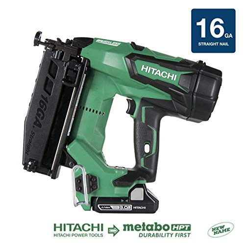 Hitachi NT1865DM 18V Cordless Straight Finish Nailer, Brushless Motor, 16 Gauge, 1'...
