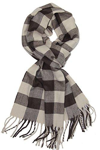 Achillea Classic Plaid Check Cashmere Feel Winter Scarf (Beige Brown Buffalo)
