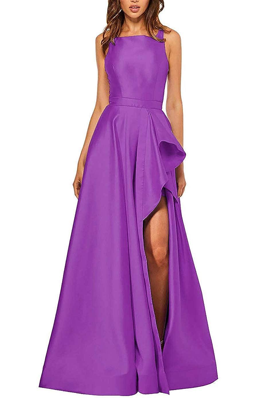 Dahlia PrettyTatum Women's Backless Long Prom Dresses Formal Evening Ball Gowns with Split Pockets