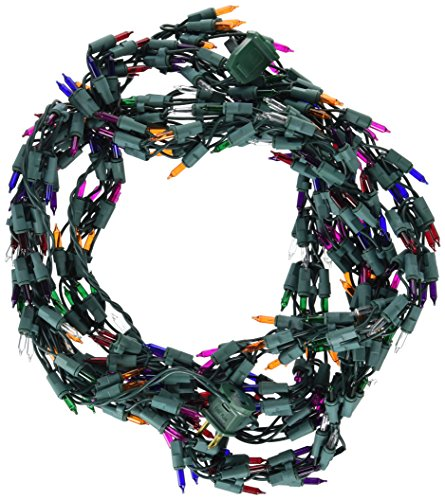 Vickerman 9' Christmas Light Garland with 300 Multi-Color Mini Lights - Green Wire ()