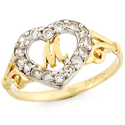 10k gold shape letter m initial cz ring jewelry