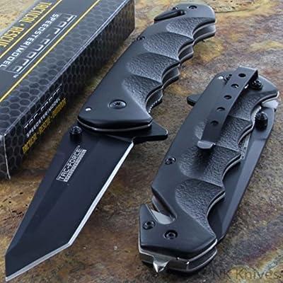 Tac-Force Black TANTO BLADE Spring Assisted Tactical Folding Pocket Knife