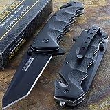 MEselected Tac-Force Black Tanto Blade Spring Assisted Tactical Folding Pocket Knife