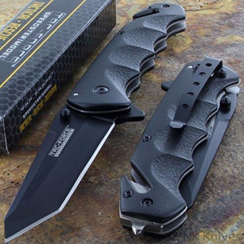 Tac-Force Black TANTO BLADE Spring Assisted Tactical Folding Pocket Knife (Blade Black Folding Pocket Knife)
