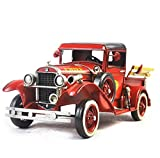 GL&G Hand made Iron art Crafts red Fire truck model birthday gift Home decoration bar Cafe Tabletop Scenes Ornaments Collectible Vehicles Keepsakes,351415.5cm