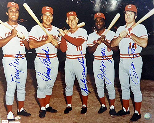 - Cincinnati Reds Big Red Machine Signed 16x20 Photo With 5 Signatures Including Johnny Bench Pete Rose Joe Morgan Sparky Anderson and Tony Perez Mounted Memories and MLB Holo #MT00551042 - Baseball