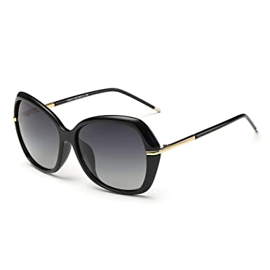 25d7f317484 DONNA Women s Classic Oversized Polarized Sunglasses Super Big Circle  Shades Ultralight D72(Black)