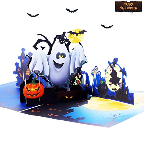 Halloween 3D Pop Up Greeting Card - Ghost Pumpkin Witch Bat Broom Spider Castle Mansion Haunted House Cottage Village Card – Thank You Gifts Handmade DIY Card for Boys, Friend, -