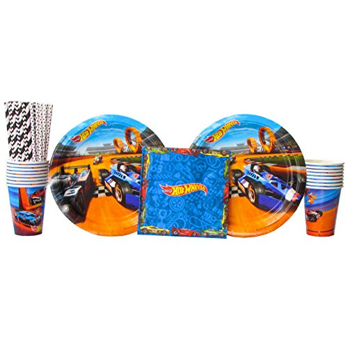 Hot Wheels Wild Racer Party Supplies Pack for 16 Guests - Straws, Lunch Plates, Luncheon Napkins, and Cups