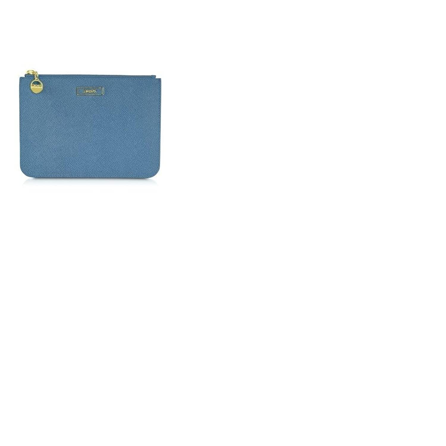 Dkny Saffiano Leather Large Clutch Blue