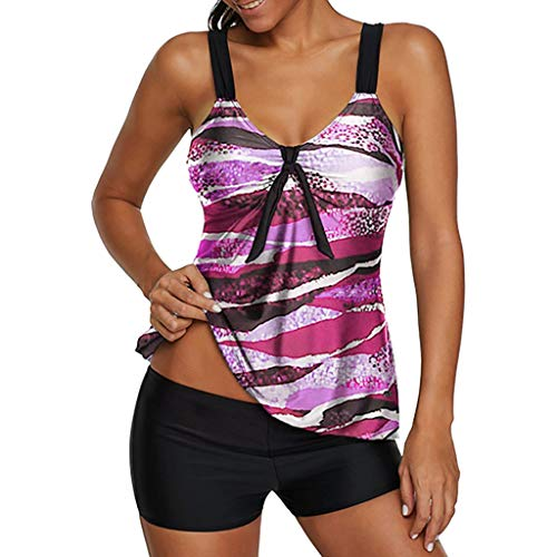 Womens Sexy Halter Patchwork Printed Open Back Tankini Top Set Two Piece Swimsuits,Plus Size Bathing Suits,MmNote Purple